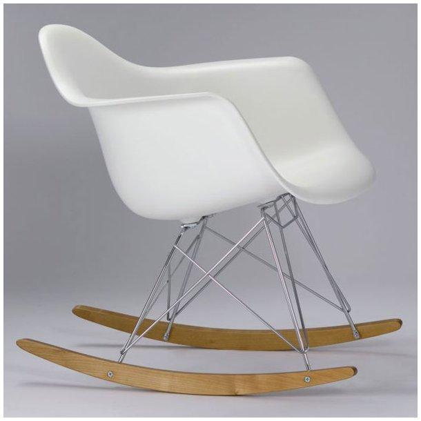 Eames RAR stol hvid gyngestol med armlæn