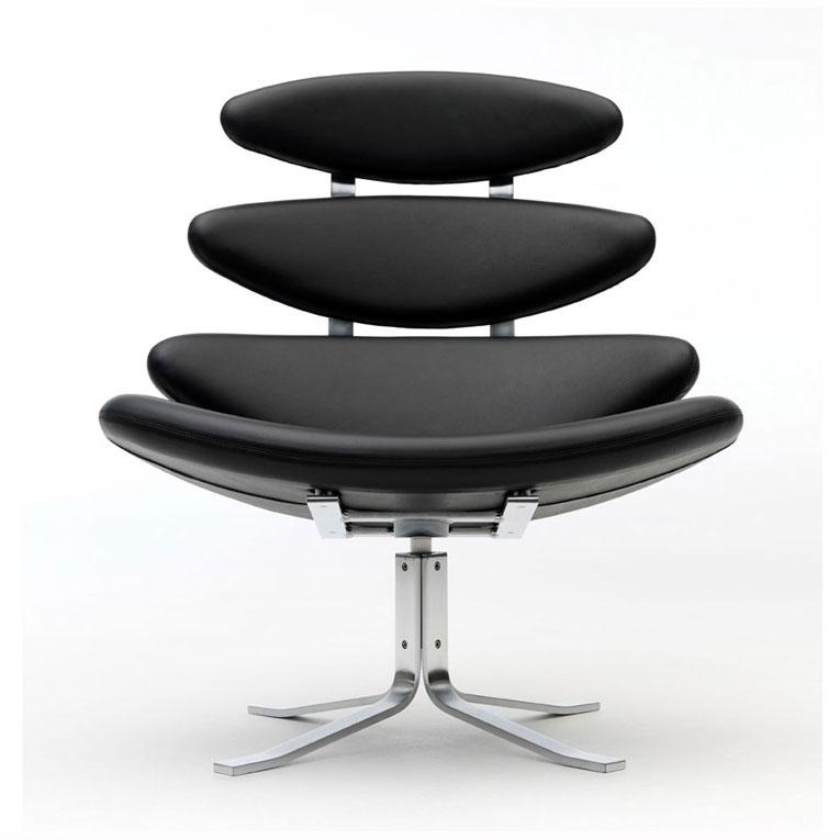 corona stol Erik Jørgensen   Corona Model EJ 5 Corona lænestol stol sort læder corona stol