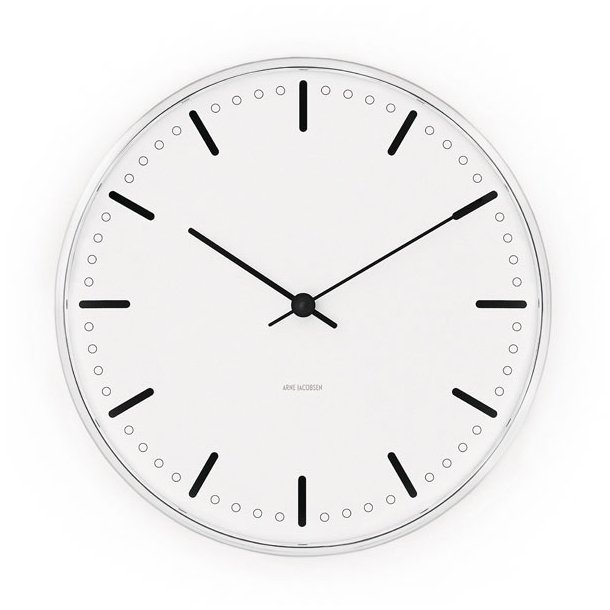 Vægur, Arne Jacobsen, City Hall Clock, 21 cm
